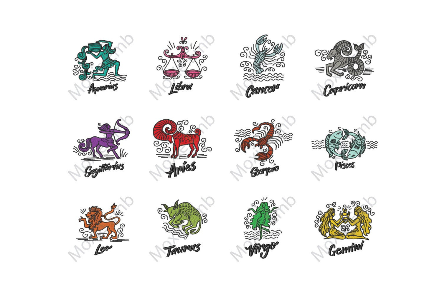 Patterns For Embroidery Machine Zodiac Bundle 12 Designs Machine Embroidery Design Embroidery Patterns Embroidery Files Instant Download