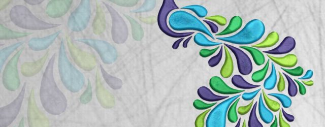 Peacock Embroidery Pattern Blue Peafowl Embroidery Design 3 Sizes