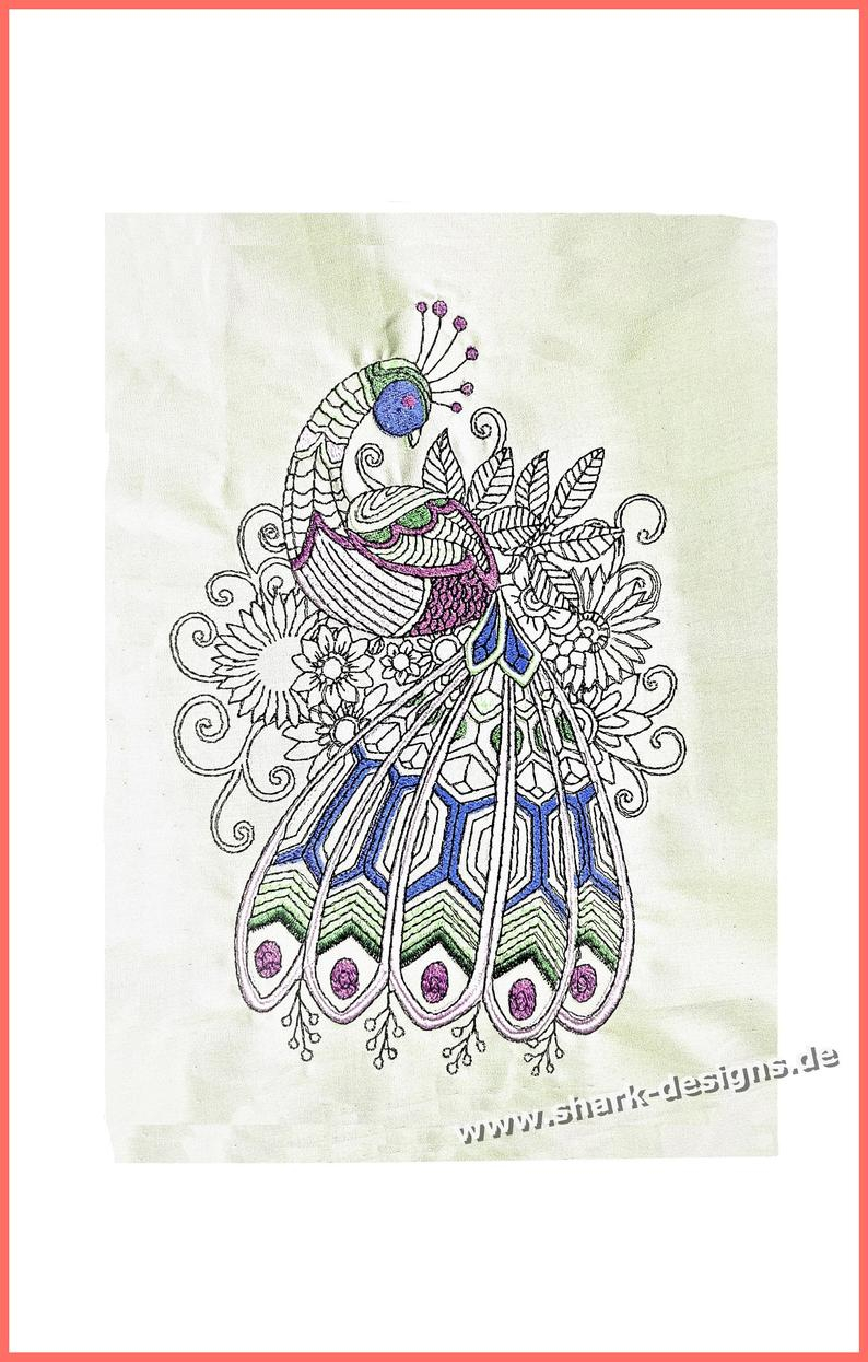 Peacock Embroidery Patterns Embroidery File Embroidery Centangle Peacock 4 Sizes Machine Embroidery Embroidery Patterns Running Stitches Easy To Embroider