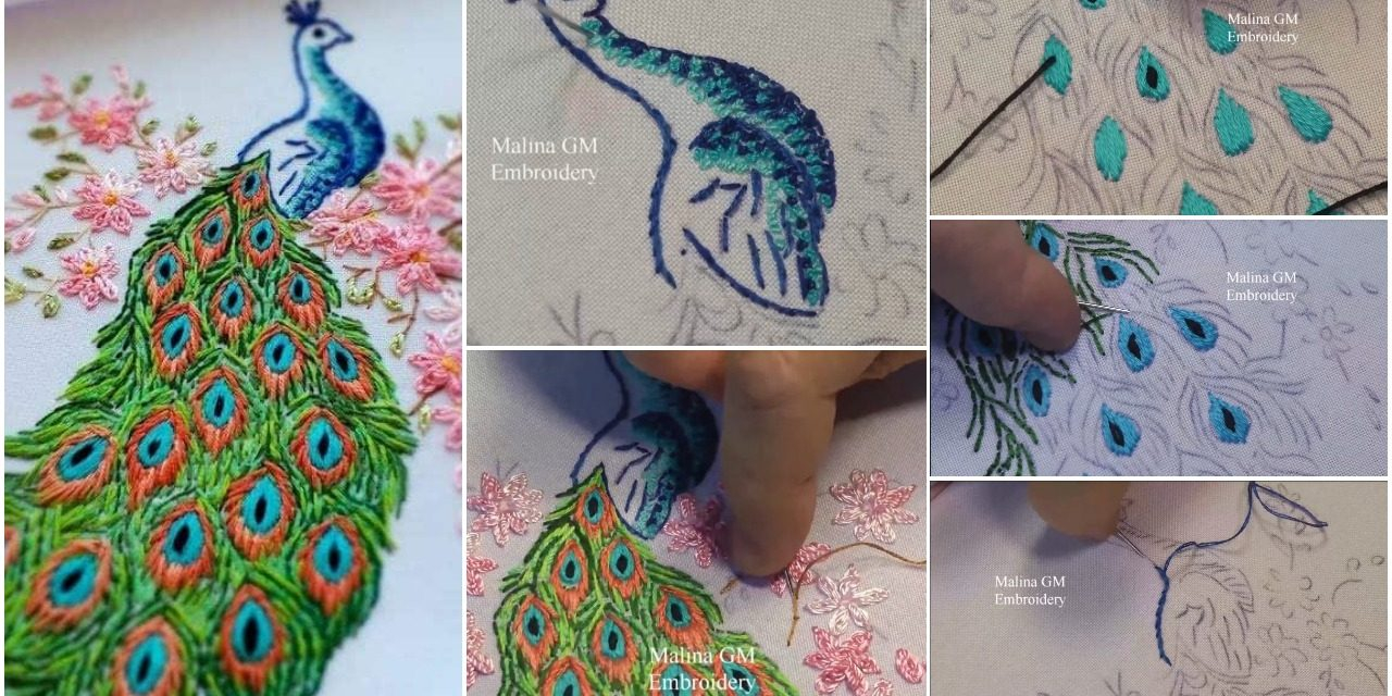 Peacock Embroidery Patterns How To Do Hand Embroidery Peacock Simple Craft Ideas