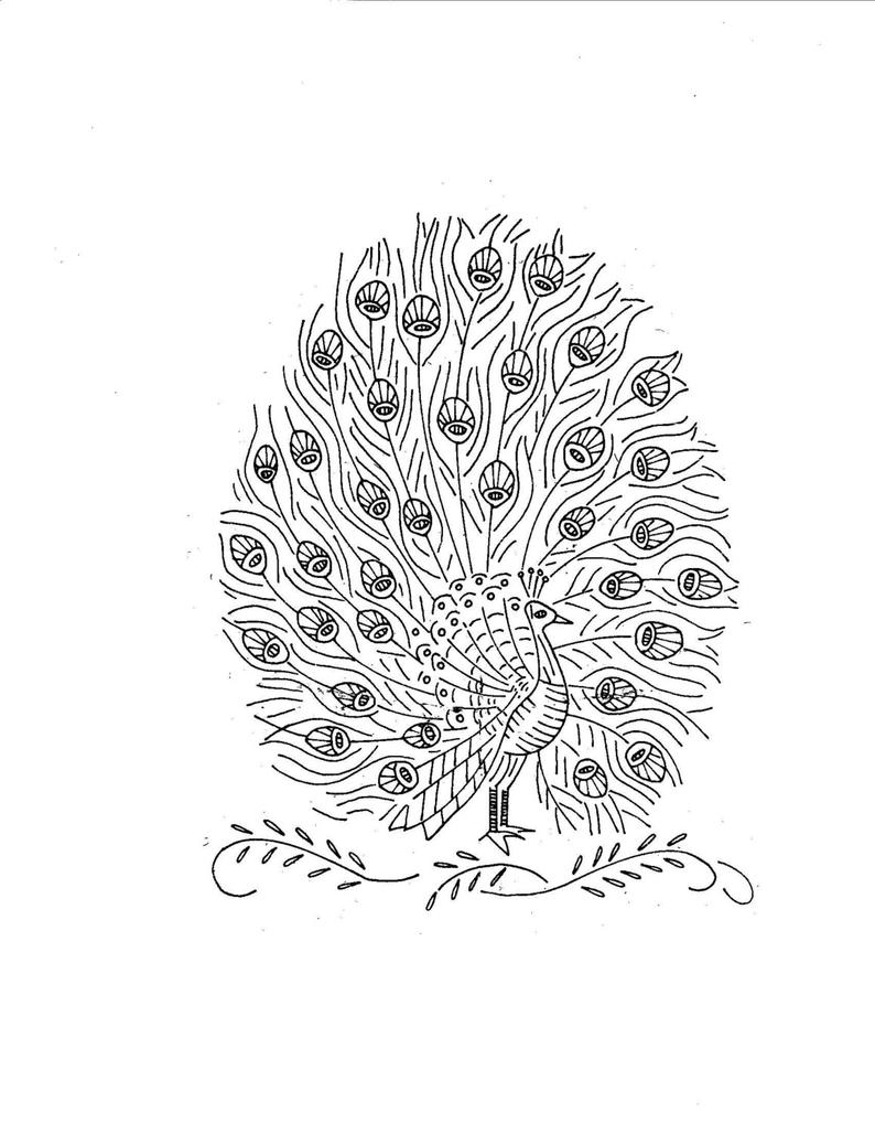 Peacock Embroidery Patterns Vintage Hand Embroidery Pattern Pdf File Design 7405 Peacock Quilt 12 X 12 Inches Square 1960s Instant Download