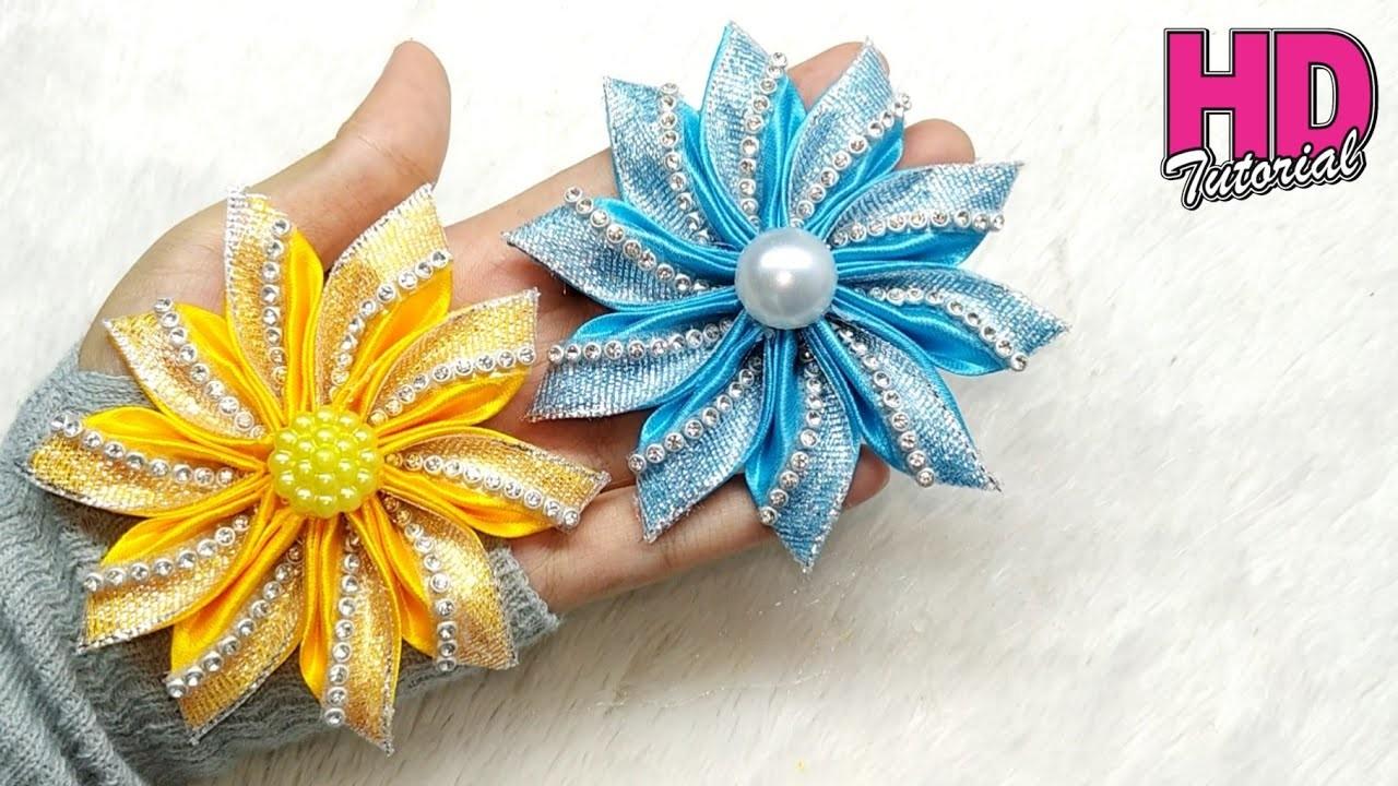 Ribbon Embroidery Patterns Free Diy How To Make Satin Ribbon Flower Kanzashi Flower Silk
