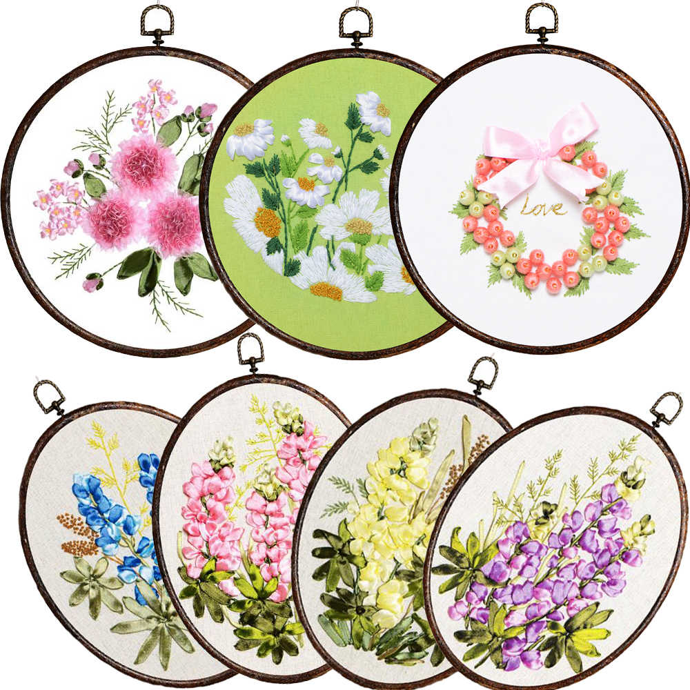Ribbon Embroidery Patterns Free Easy Ribbon Embroidery Sale With Retro Hoop For Beginner Needlework