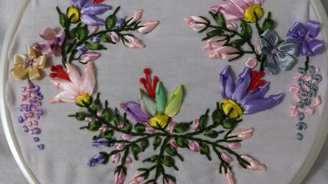 Ribbon Embroidery Patterns Free Ribbon Embroidery Stitches Hand Tutorial Ribbon Embroidery Designs