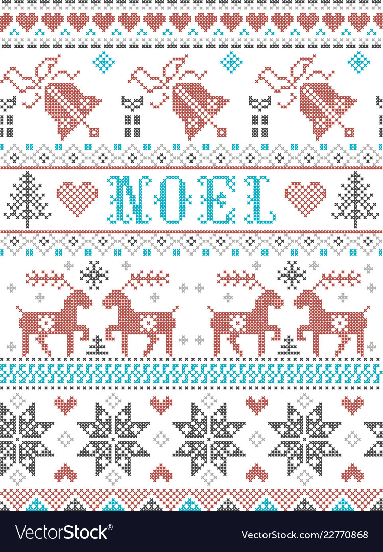Scandinavian Embroidery Patterns Christmas Pattern Noel Scandinavian Style Stitched
