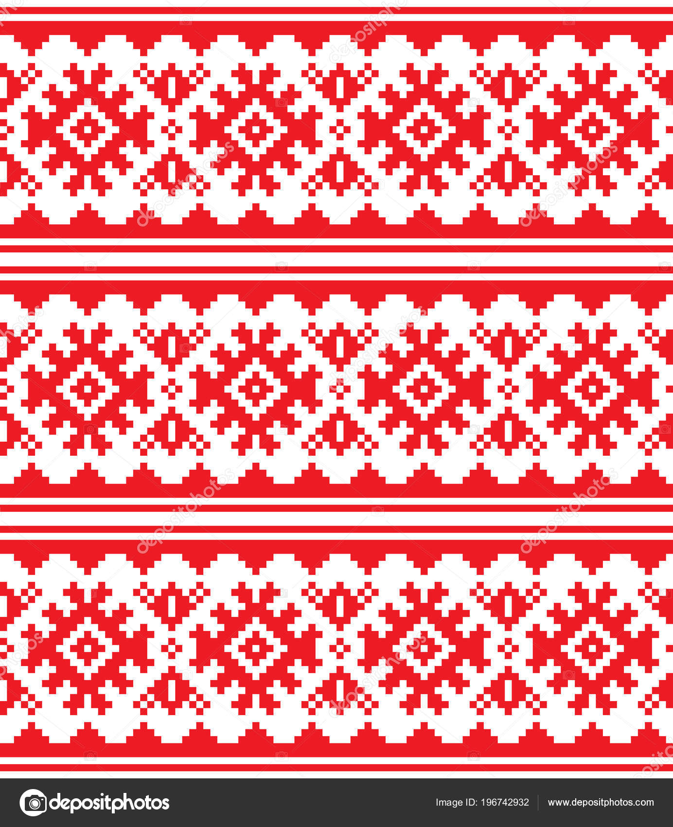 Scandinavian Embroidery Patterns Scandinavian Nordic Vector Seamless Pattern Lapland Long Red Folk