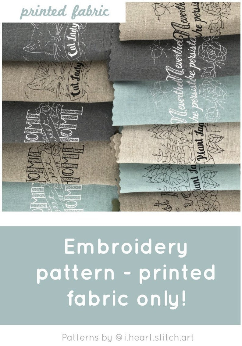 Stamped Embroidery Patterns Fabric Only Embroidery Pattern Printed Embroidery Pattern Cross Stitch Pattern Xstitch Pattern Home Sweet Home Nevertheless Cat Lady