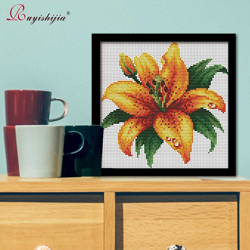 Stamped Embroidery Patterns Ruyishijia Needlecrafts Stamped Cross Stitch Kits With Pre Printed Flowers Pattern For Beginners Starter Embroidery Pattern