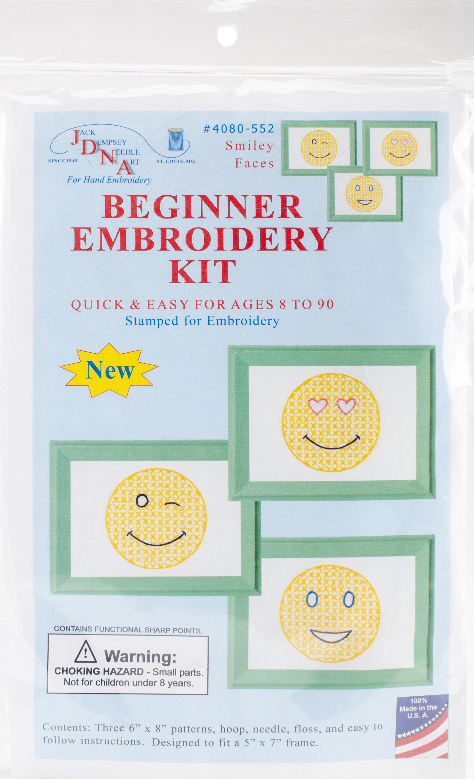 Stamped Embroidery Patterns Stamped Embroidery Kit Beginner Samplers 6x8 3pkg Smiling Faces