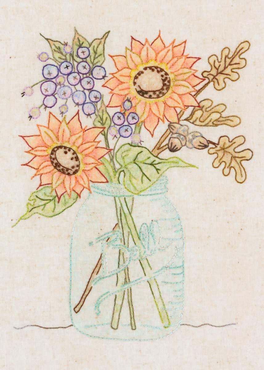 Sunflower Embroidery Pattern 351 Sunflower Jar Embroidery Pattern 875352003746