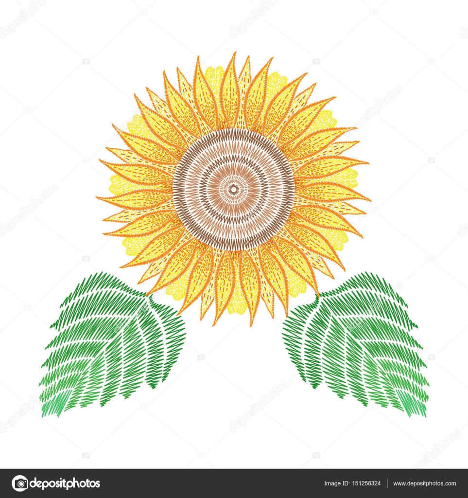 Sunflower Embroidery Pattern Embroidery Patch With Sunflower Vector Fashion Embroidered Flor