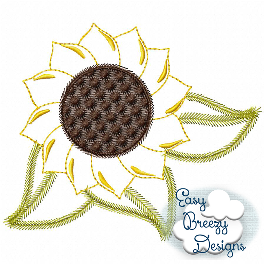 Sunflower Embroidery Pattern Farm Sunflower Raggy Vintage Applique Machine Embroidery Files Digital Download