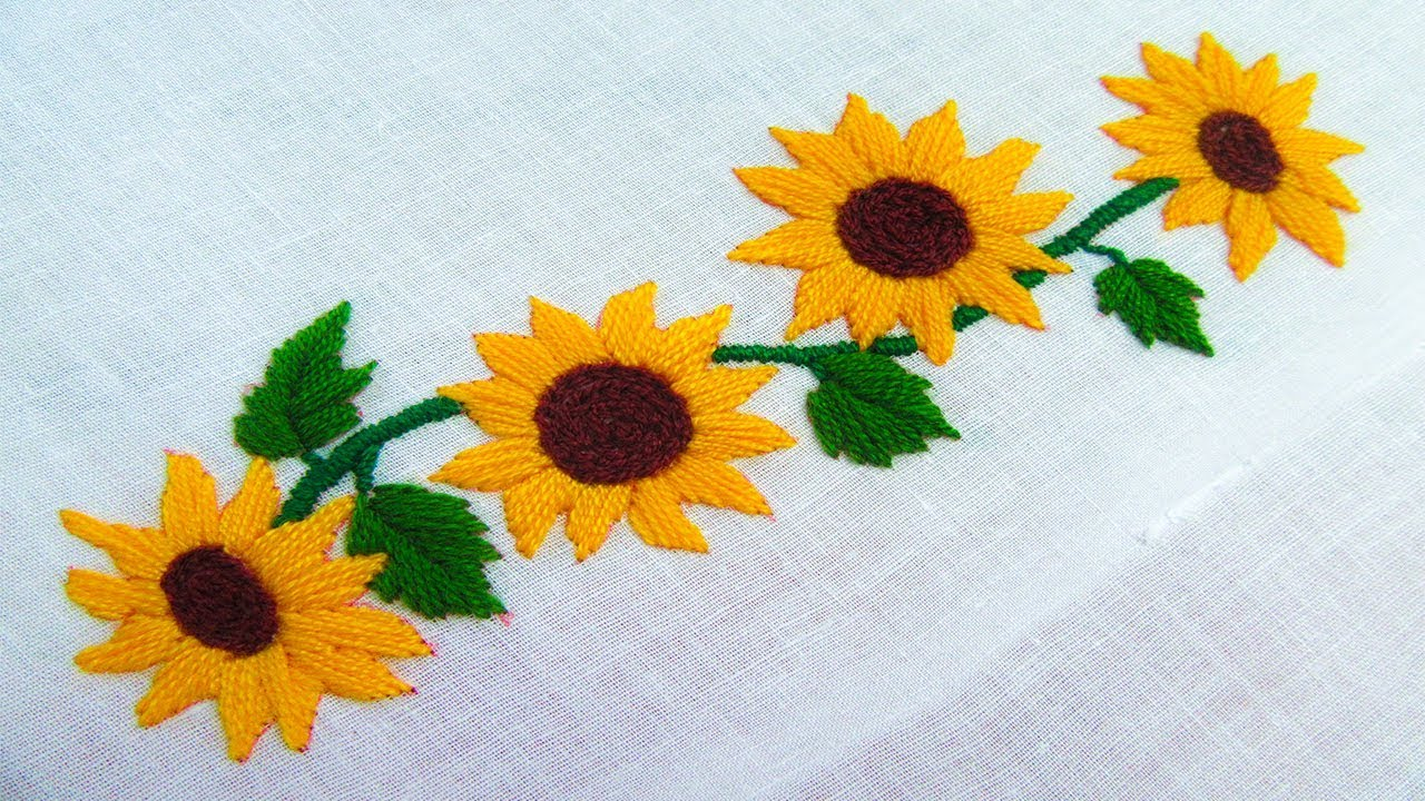 Sunflower Embroidery Pattern Hand Embroidery Border Line Design Sunflower Embroidery