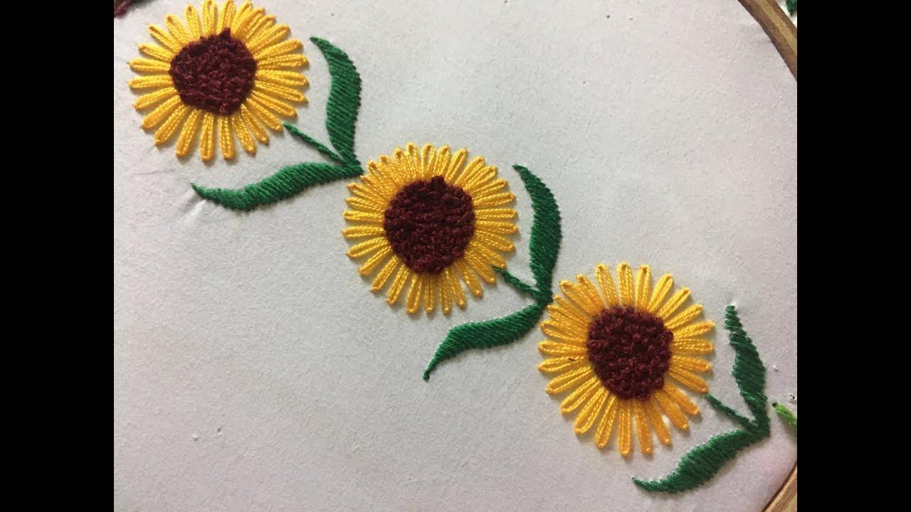 Sunflower Embroidery Pattern Hand Embroidery Sunflower Stitch L Lazy Daisy Stitch L Borderline Embroidery Design