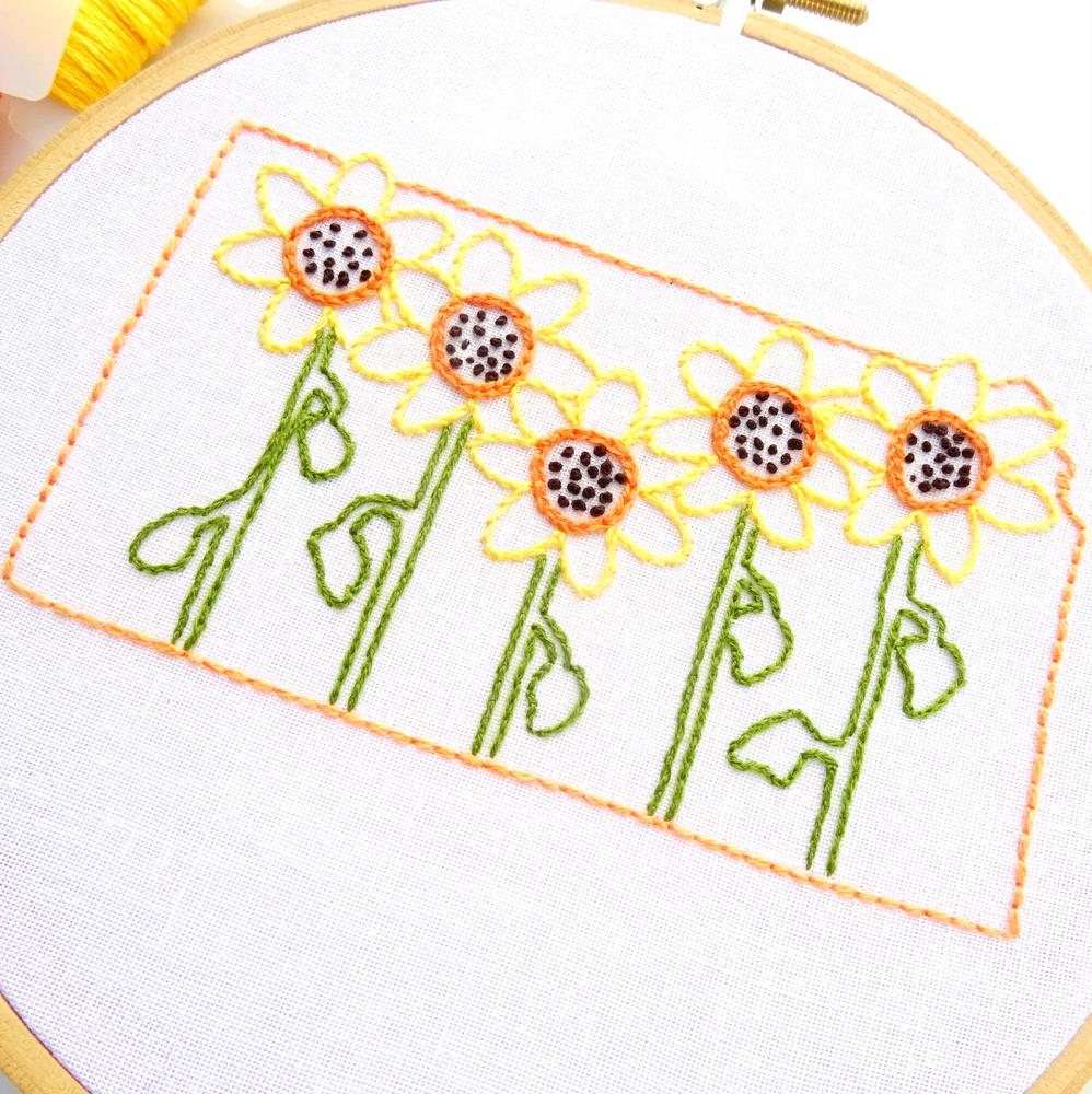 Sunflower Embroidery Pattern Kansas Flower Hand Embroidery Pattern Sunflower