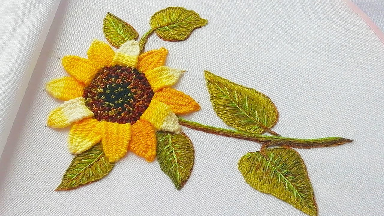 Sunflower Embroidery Pattern Mbroidery Sunflower Woven Picot Stitch