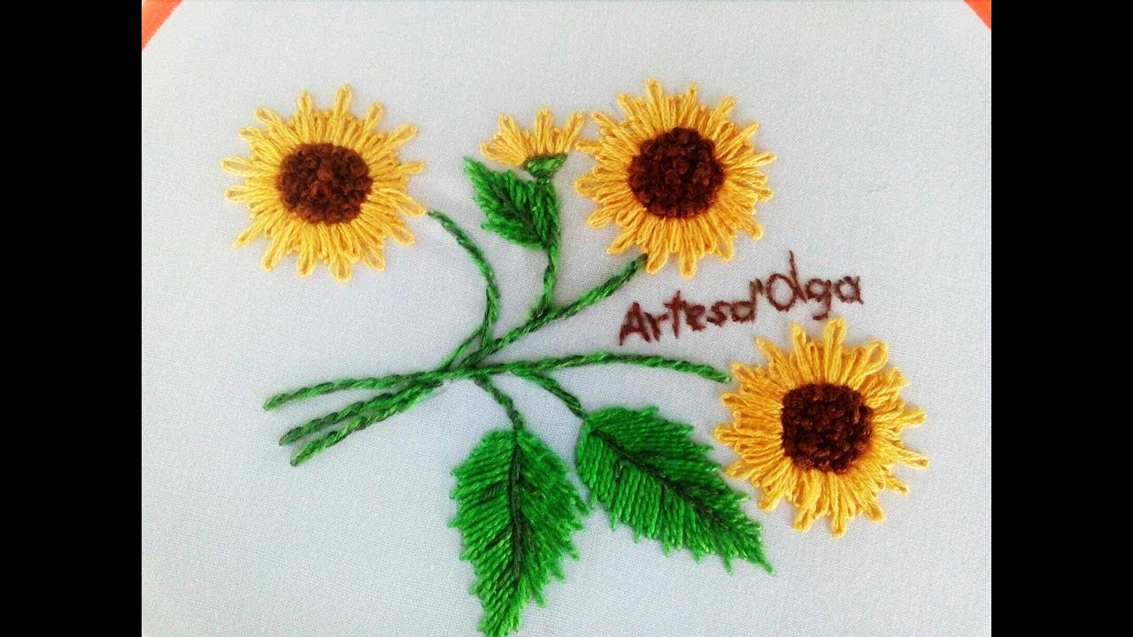 Sunflower Embroidery Pattern Sunflower Embroidery Lazy Daisy Stitch Diy Hand Embroidery Girasoles Bordado A Mano