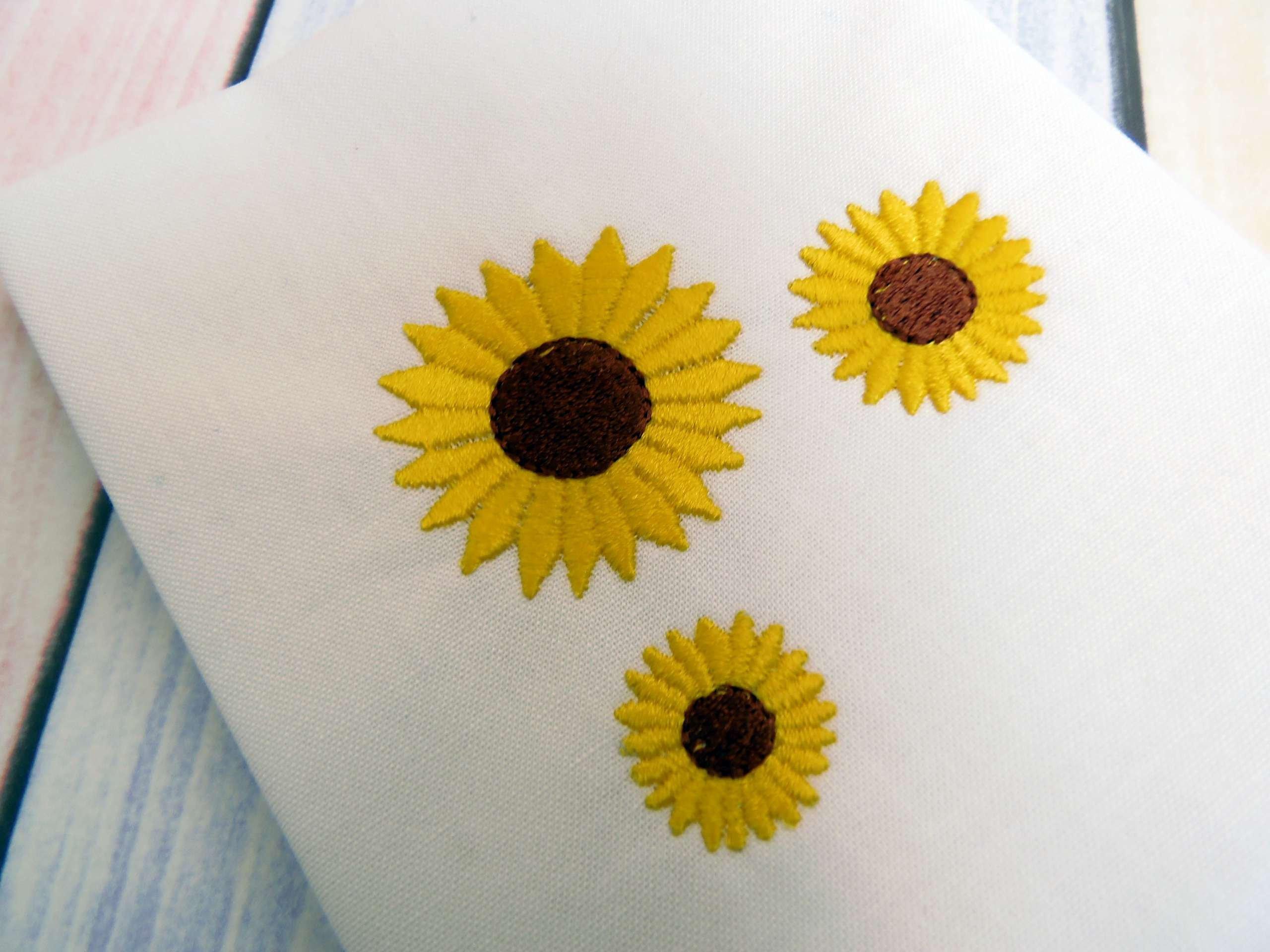 Sunflower Embroidery Pattern Sunflower Machine Embroidery Design In 5 Sizes Mini Sunflower Embroidery Design Summer Flower Embroidery Design Instant Download