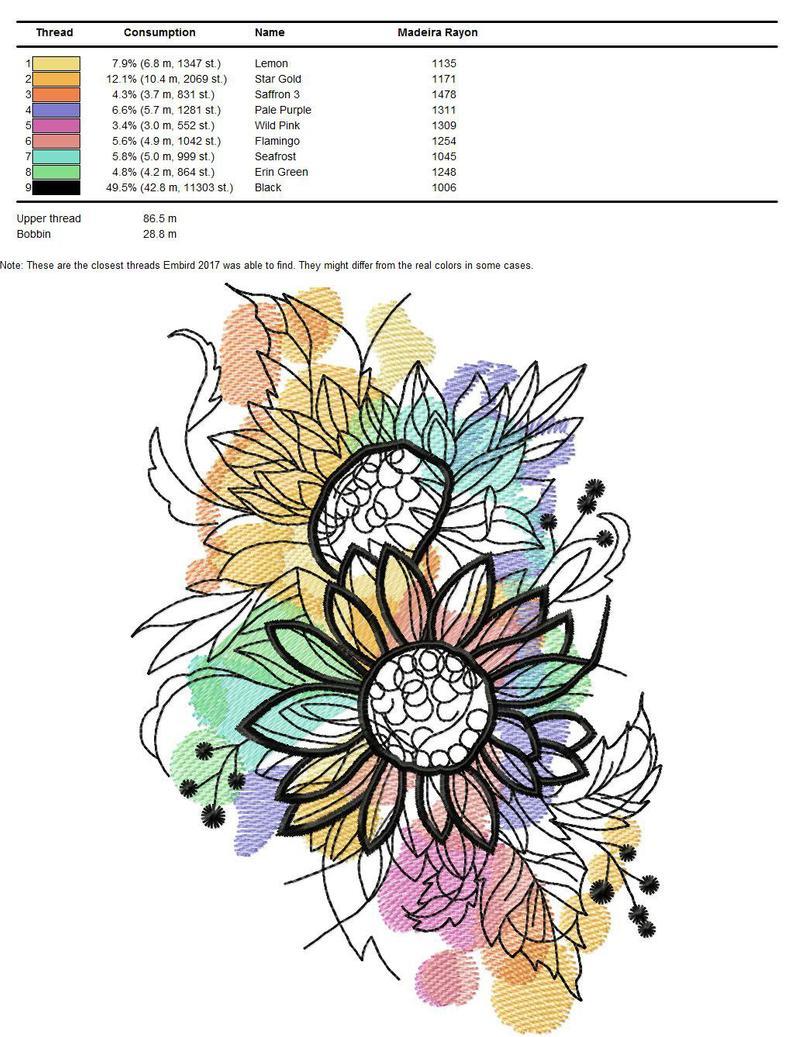 Sunflower Embroidery Pattern Sunflower Machine Embroidery Designs Sunflower Embroidery Flowers Design Floral Pattern 57 68 69
