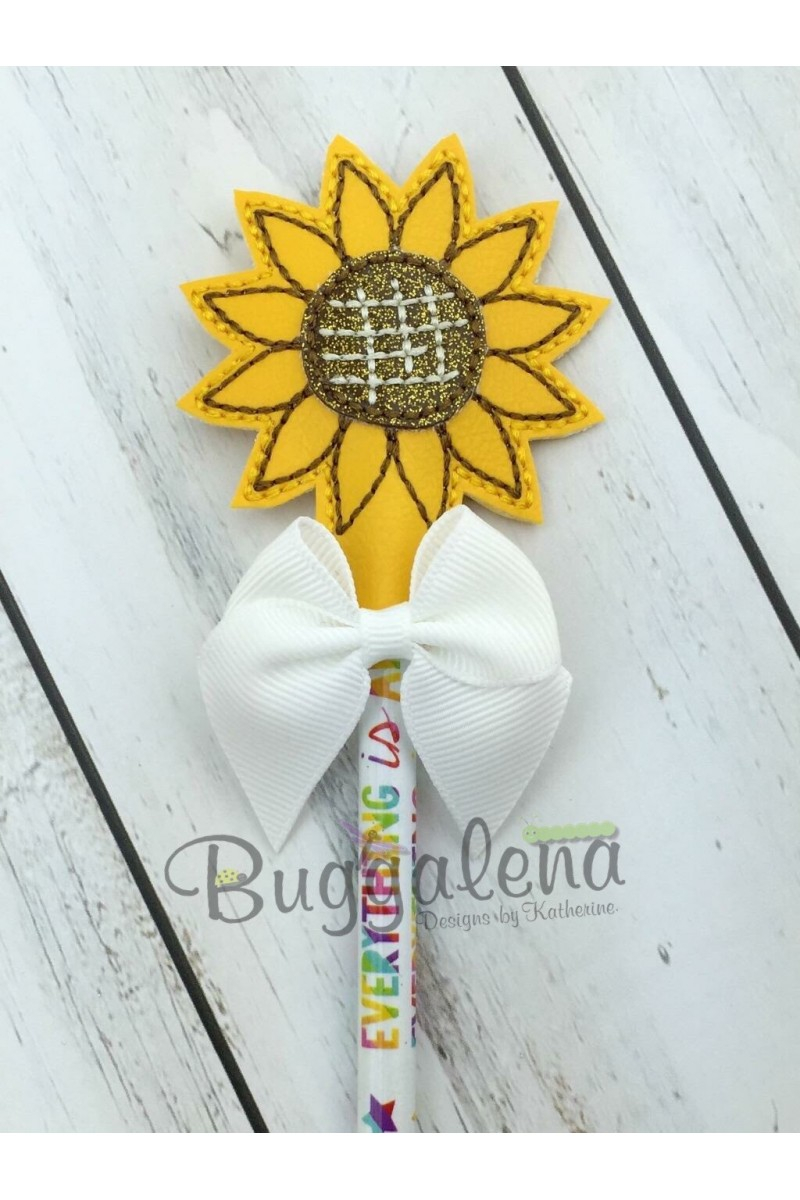 Sunflower Embroidery Pattern Sunflower Pencil Topper Embroidery Design