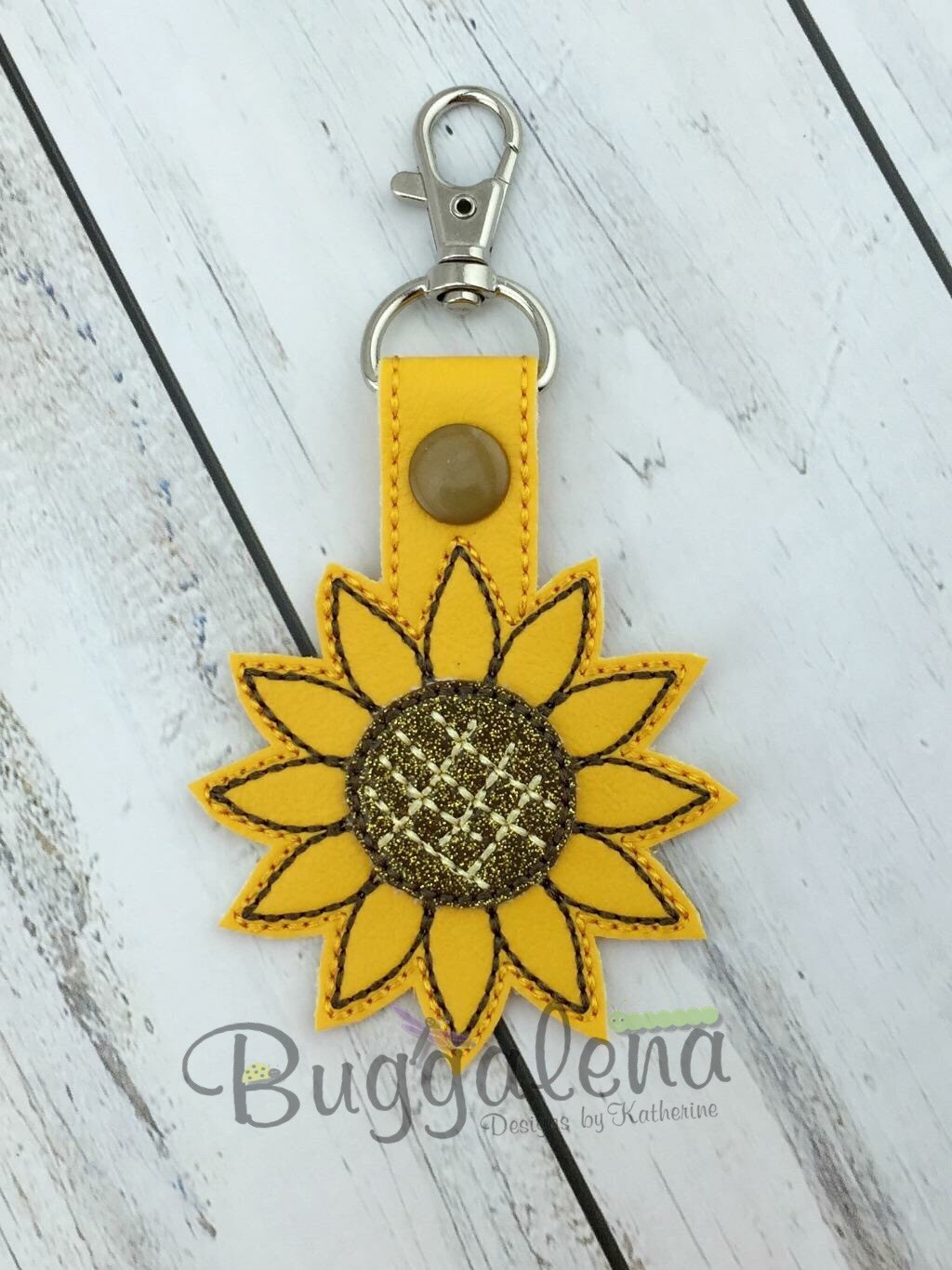 Sunflower Embroidery Pattern Sunflower Snap Tab Key Fob Embroidery Design