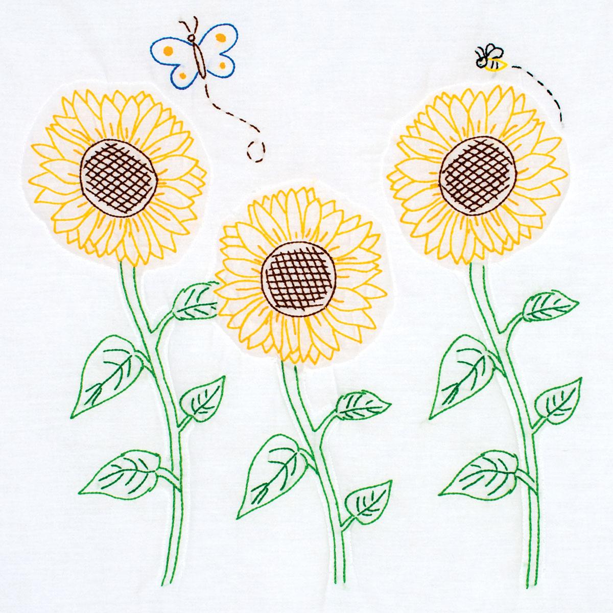 Sunflower Embroidery Pattern Sunflowers 18 Quilt Blocks